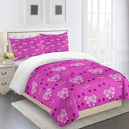 JCKSimpleLife Single Duvet Cover Set 140x200cm Pink pigwith 2 Pillowcase 3D Printing Bedding Set Easy Care Microfiber with Zipper Opening and Closing