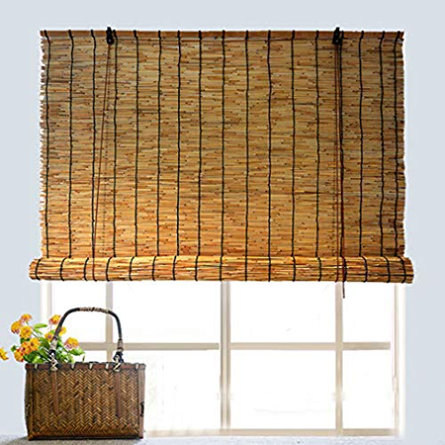 Roller blind Reed Curtain for Window,Bamboo Blinds,Natural Wood Grass Roll Up,Bamboo Venetian Shades for Side Sliding Door,Doorway Curtain for Corridor,Room Divider,Customizable (W100x185cm/W39x73in)