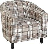 Seconique Hammond Tub Chair, Grey/Brown Tartan Fabric, One Size