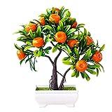 YCSX Artificial Bonsai Fake Plants 1Pc Artificial Fruit Orange Tree Bonsai Home Office Garden Desktop Pot Plants Party Decor for Hotel Garden Faux Green Leaves Fake Plant (Color : Orange)