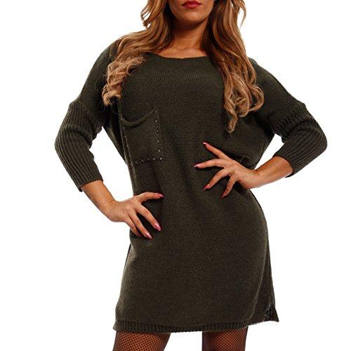 Young-Fashion Damen Long Pullover Strickkleid mit Nieten, Farbe:Khaki;Größe:One Size (34/36/38)