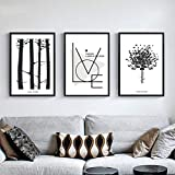 WEDSA Lienzo de Pintura Mural Abstract Tree Canvas Painting Minimalism Wall Art Poster Love Quotes Print Picture for Living Room Bedroom 40x60cmx3 Sin Marco