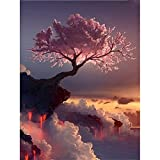 Full Round Drill 5D Diamond Painting Kit Cross Stitch Supply Arts Craft Canvas Wall Decor Cherry Tree On The Edge of A Cliff 11.8x15.7in 1 Pack by Witfox