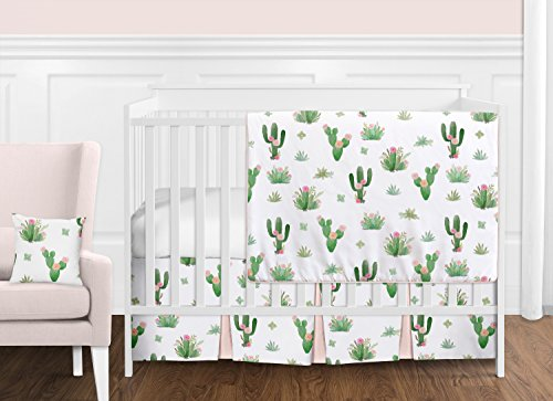 Pink and Green Boho Watercolor Cactus Floral Baby Girl Crib Bedding Set by Sweet Jojo Designs - 11 Pieces