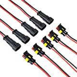 MUYI 5 Kit 2 Pin Way 16 AWG Waterproof Wire Connectors 1.5mm Series Terminal Connector Black