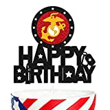 United States-Marine Corps Theme Cake Topper for Camouflage Military US.MC Themed Happy Birthday Cake Decorations Bday Party Supplies Doubled Sided