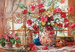 A2サイズ 鳥かごと可憐な花 フルダイヤモンドアート /全面貼り付けタイプ/四角型(スクエア)ビーズ/モザイクアート/手芸キット