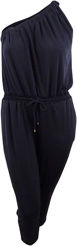 Lauren Ralph Lauren Womens Aubrezia Shirred One Shoulder Jumpsuit Black XL