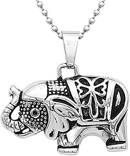 Yiffshunl Collar Moda para Hombre Collares Colgante Elefante tailandés Collar de Acero de Titanio Vintage Acero Inoxidable