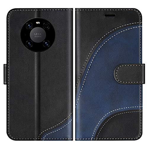 BoxTii Hülle für Huawei Mate 40, Leder Handyhülle für Huawei Mate 40, Ledertasche Klapphülle Schutzhülle mit Kartenfächer & Magnetverschluss, Schwarz