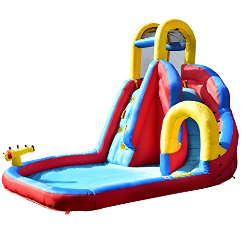 GYMAX Kids Bouncy Water Castle, Inflatable Water Park Jumper with Climbing Wall, Water Gun, Slide and Splash Pool, Carrying Bag