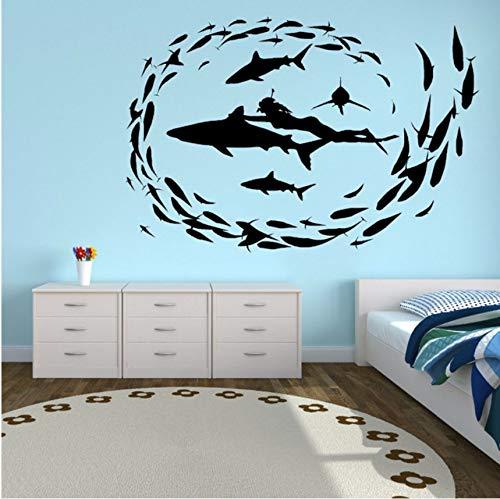 hwhz 57 X 38 cm Vinyl Wall Art Sticker Removable Shark Diving Fish Sea Wall Decal Bathroom Design Decor Home Bedroom Wall Art Mural