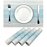 Placemat,Blue and White Blending Color Durable Woven Vinyl Placemat Washable Heat-Resistant Anti-Skid Kitchen Dining Table Mats Set of 4