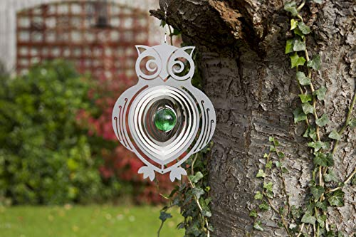 Metal Garden Wind Spinner Owl Design - Outdoor Hanging Decor - Vibrant Quirky Design Powder Coated Steel & Anti Rust