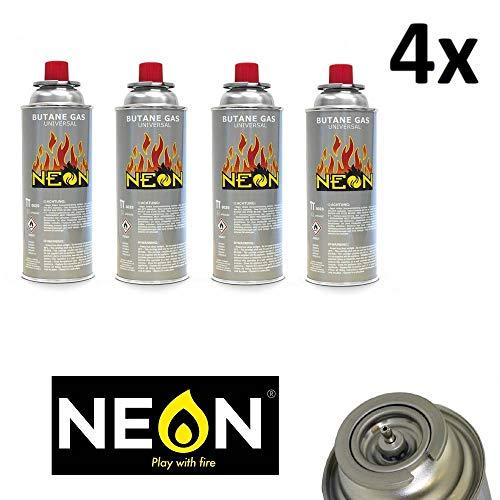 NEON 4er Pack 227g Butan Gaskartusche MSF-1A Campinggas Butangas für Gaskocher und Lampe