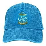 Ahdyr Pelota de Tenis Negra y Raqueta Sombreros de Mezclilla Lavados Gorra de béisbol Hombres Mujeres-El Lago es mi Lugar Feliz/Azul