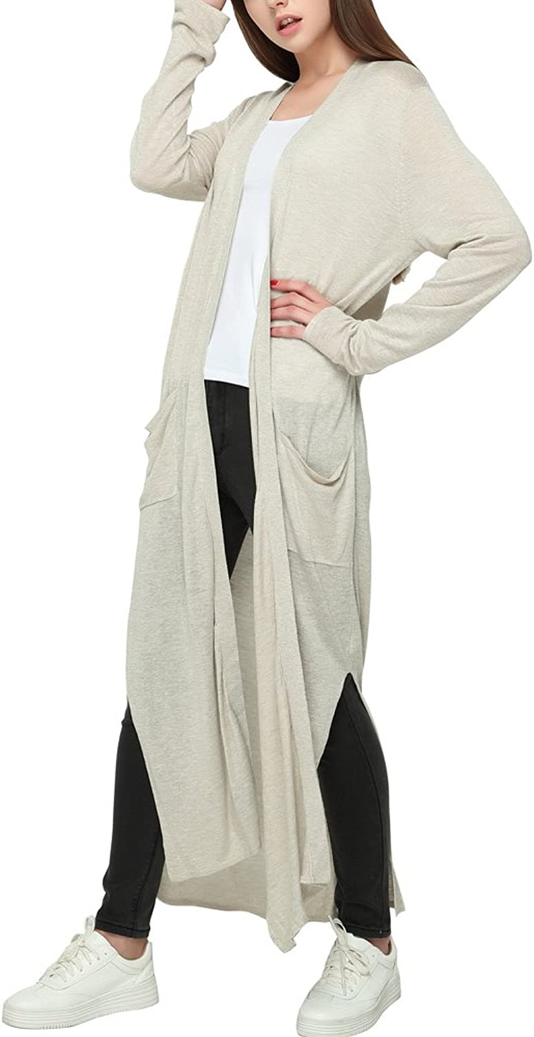 CICI RAN Womens Drapey Light Weight Open Front Linen Long Cardigan with Pockets