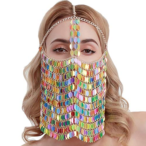 HJG Halloween Mardi Gras masker Masquerade Mask Chain Sieraden voor Vrouwen Nachtclub Party met Pailletten Hoofddeksels