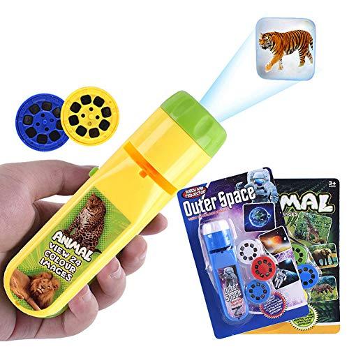 HahaGo Antorcha Proyector Proyección Iluminación Historia Antorchas Luz de diapositivas Hora de acostarse Luz nocturna para niños (48 imágenes, 2 juegos, espacio exterior + animales)