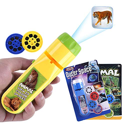 HahaGo Torche Projecteur Projection Éclairage Story Torches Light Toy Slide Lamp Apprentissage éducatif Coucher de nuit Veilleuse pour enfants (48 Images, 2set,univers + animaux)