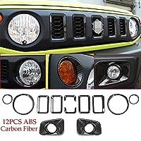 12ピースABSフロントヘッドライトフォグランプグリルインサートカバースズキジムニー2019+ (Carbon Fiber ABS)