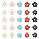 JJGQAZ 50pcs 20x18mm Assorted Gold Plated Enamel Flowers Charms for Jewelry Making Necklace Bracelet Earring