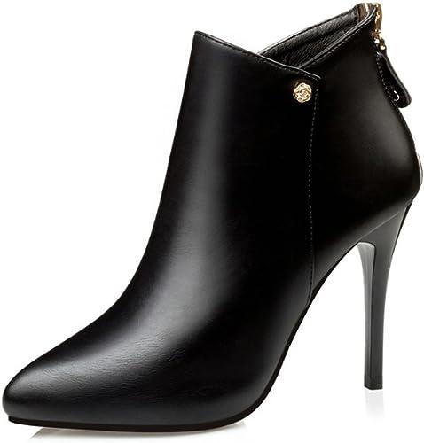 Zrf cómodo Antideslizante Europa y Estados Unidos botas Sexy Elegant Botines Slim High Heel botas mujer Resistente al Calor (Color   negro, Tamaño   36)