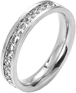 Band Ring Cubic Zirconia Engagement Rings for Women CZ Pave Wedding Ring Silver/Rose Gold,Size 5/6/7/8/9/10