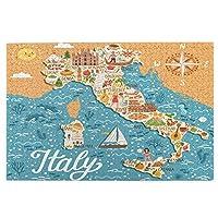 1000ピースパズル、イタリアのベクトル様式化された地図。イタリアのランドマーク、人々と旅行のイラスト、大人と子供のための絵パズルゲーム家族の結婚式の卒業ギフト