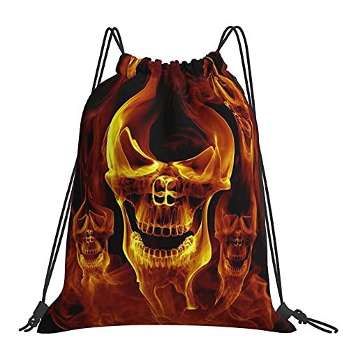 Paedto Turnbeutel Sporttasche Red Burnning Flame Skeleton Skull Head Kordelzug Rucksack Sporttaschen Strandtasche für Yoga Gym Schwimmen Reise Strand