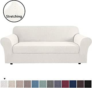 H.VERSAILTEX Durable Soft High Stretch Jacquard 2 Pieces Sofa Slipcover Ivory White Couch Covers Lycra Furniture Protector Machine Washable Spandex Sofa Covers for 3 Seater Sofa, Sofa Large Size