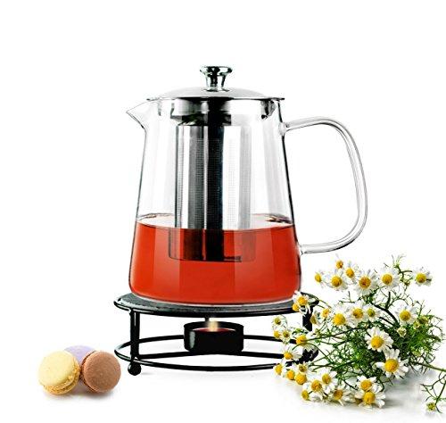 Sendez Teekanne 1,2L mit Edelstahl Sieb und Stövchen Teebereiter Glaskanne Teeset Kanne aus Borosilikatglas