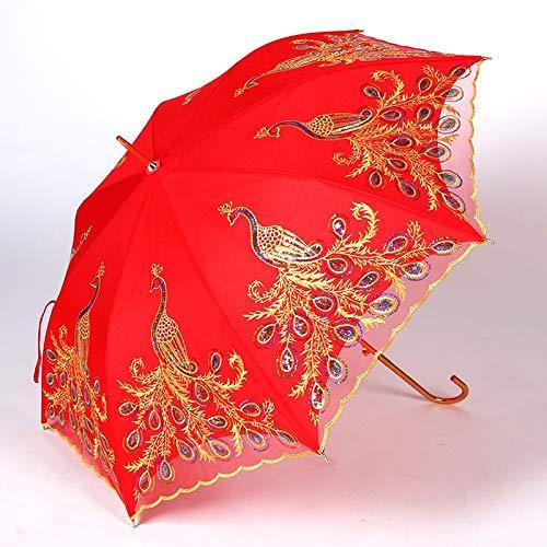 Tragbar Huafeng Regenschirm doppelte Spitze Bestickt Brautmode langstieligen Regenschirm roten Regenschirm Mitgift (Color : Red Peacock, Size : 55 * 8k)