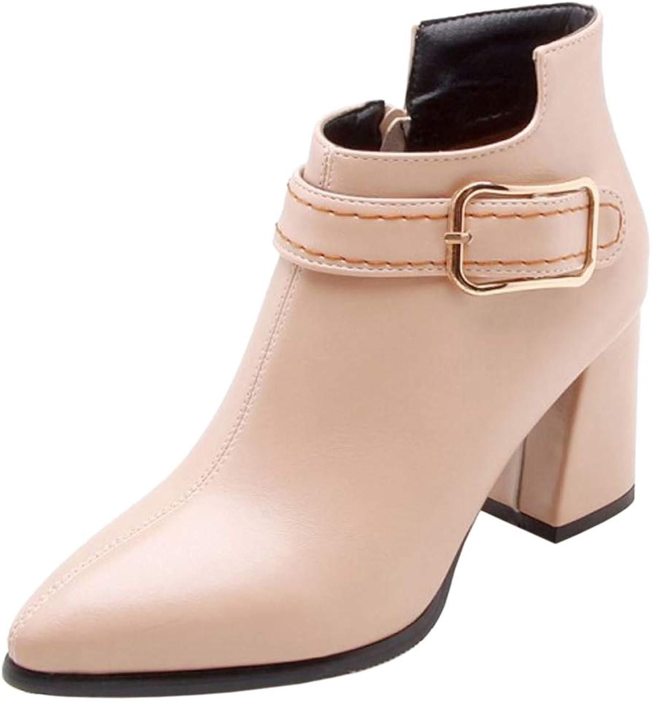 FizaiZifai Women Fashion Block Heel Dress Boots Pointed Toe Beige Size 47 Asian