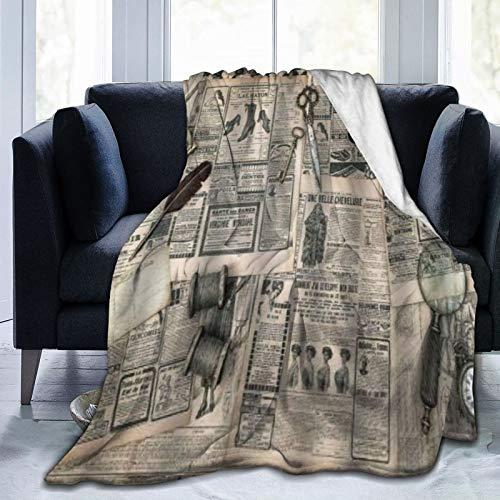 QIUTIANXIU Mantas para Sofás de Franela 150x200cm Herramientas de Escritura y Costura de revistas de Moda Antigua Manta para Cama Extra Suave