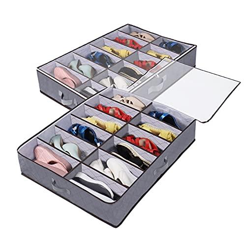 Organizadorde de Zapatos para Debajo de la Cama, Juego de 2, para un Total de 24 Pares de Zapatos, Solución de Almacenamiento Debajo de la Cama