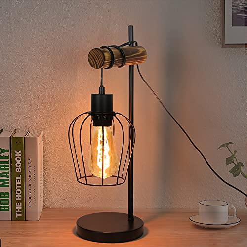 ZMH Lámpara de mesa retro, 1 foco, vintage, lámpara de noche para salón, lámpara de mesa en diseño industrial de metal y madera, color negro, casquillo: E27, incluye interruptor, sin bombilla