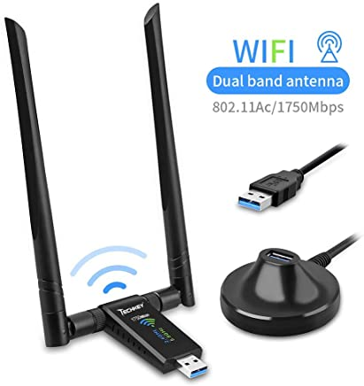 $34 Get USB WiFi Adapter for PC, Techkey 1750Mbps Dual Band 2.4GHz/450Mbps 5GHz/1300Mbps High Gain 5dBi Antennas USB 3.0 Wireless Network Adapter for Desktop Laptop with Windows 10/8/7/XP/Vista, Mac OS