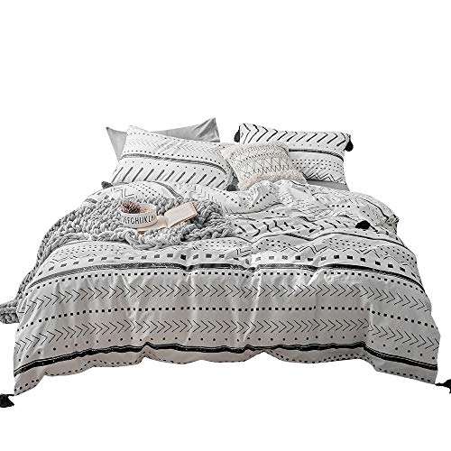 VClife Cotton Queen Bedding Sets Duvet Cover Sets Modern Black White Arrow Herringbone Geometric Pattern Comforter Quilt Cover Queen 1 Duvet Cover 2 Pillowcases Hotel Quality Lightweight Durable