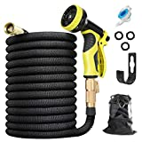HAUEA Expandable Garden Hose 100FT Leakproof Lightweight Flexible Water Hose with 10 Function Nozzle and 3/4' Solid Brass Connectors, 3300D Fabric 3-Layers Latex Easy Storage Kink Free Yard Hose