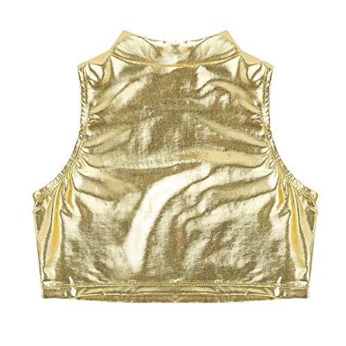 TiaoBug Sujetador Deportivo de Danza Gimnasia Niñas Crop Top sin Mangas Brillo Métalico Camiseta Corta Verano Tank Top Deportes Ballet Fitness Running Dorado 10 Años