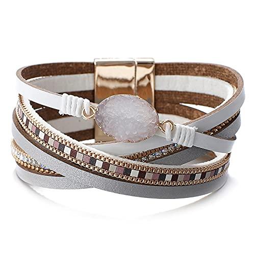 HMANE Pulseras de Cuero con dijes de Piedra para Mujer, Pulsera Ancha de Diamantes de imitación Multicapa, joyería Femenina
