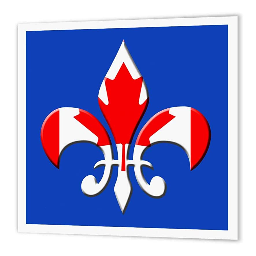 3dRose ht_33674_2 Large Fleur De Lis on Blue Background with Canadian Flag Overlay Iron on Heat Transfer Paper for White Material, 6 by 6