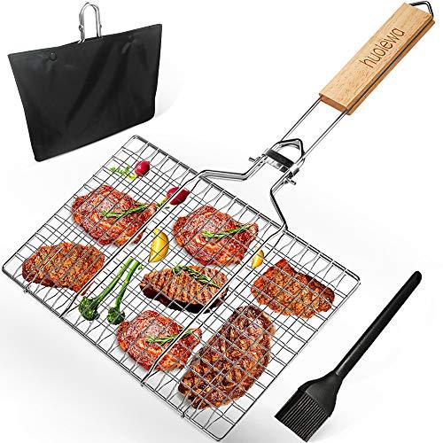 Faltbarer BBQ Grillkorb Fischbräter, Huolewa Tragbares Grill Fischhalter, Grillroste Grill Basket für Fisch gemüse Steak Garnelenkoteletts, aus 304 Edelstahl, Bonus eine Saucenpinsel und Tragetasche