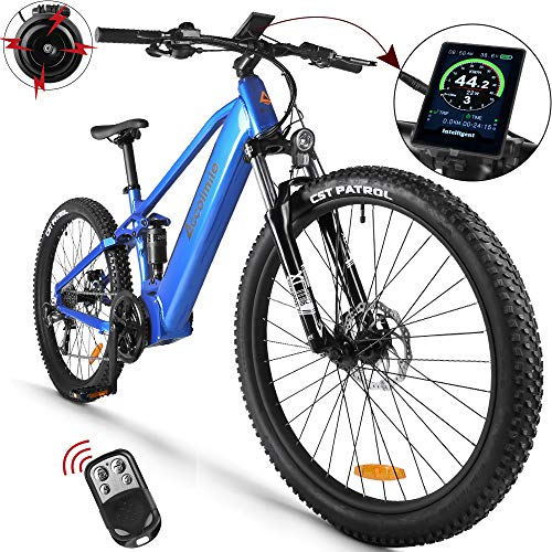 Electric Bicycle 48V 1000W Bafang Mid Drive Motor 26' Wheel 9-Speeds Derailleur Ful-Shark Absorption Snow Beach with 12.8Ah Battery (Blue)