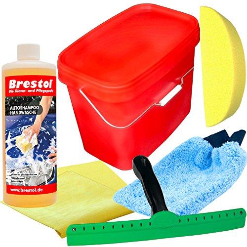 Brestol Autoshampoo SET4 1000 ml Autoshampoo, 1x VIKAN trekker 35 cm, 1x washandje, 1x autospons, 1x lederen doek XL, 1x 16 liter emmer met deksel in het rood - Autowas met pareleffect