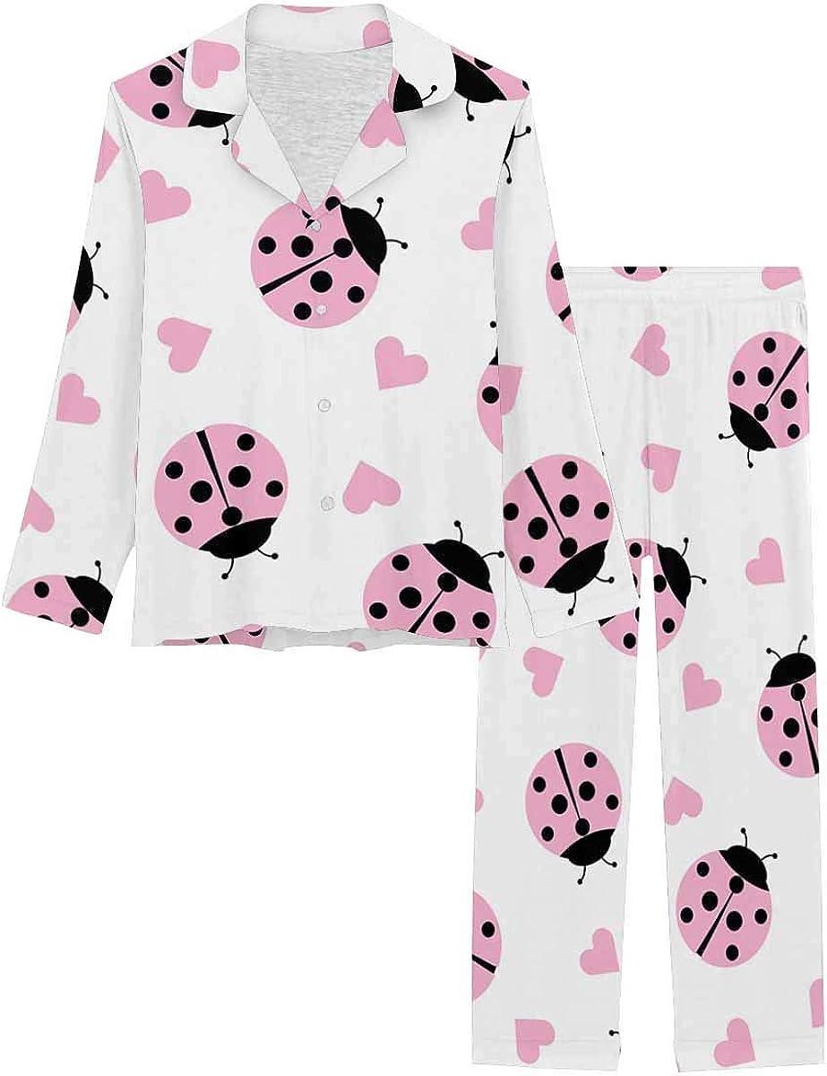 InterestPrint Women's Pajamas Set Button Down Sleepwear with Long Pants Pink Cute Ladybug and Hearts
