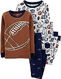 Carter's Boys 4-Piece Snug Fit Cotton Pajama PJs (Brown/White/Navy Football, 4)
