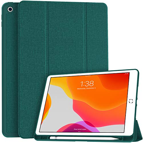 Soke New iPad 7th Generation 10.2' Case 2019 with Pencil Holder, Premium Shockproof Case with Soft TPU Back Cover and Auto Sleep/Wake Function for Apple iPad 7th Gen 10.2 Inch, Teal