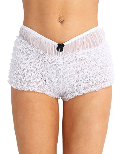 ranrann Women's Sexy Frilly Ruffle Lace Bloomers Panties Knickers Tangas Booty Shorts Underwear White One Size